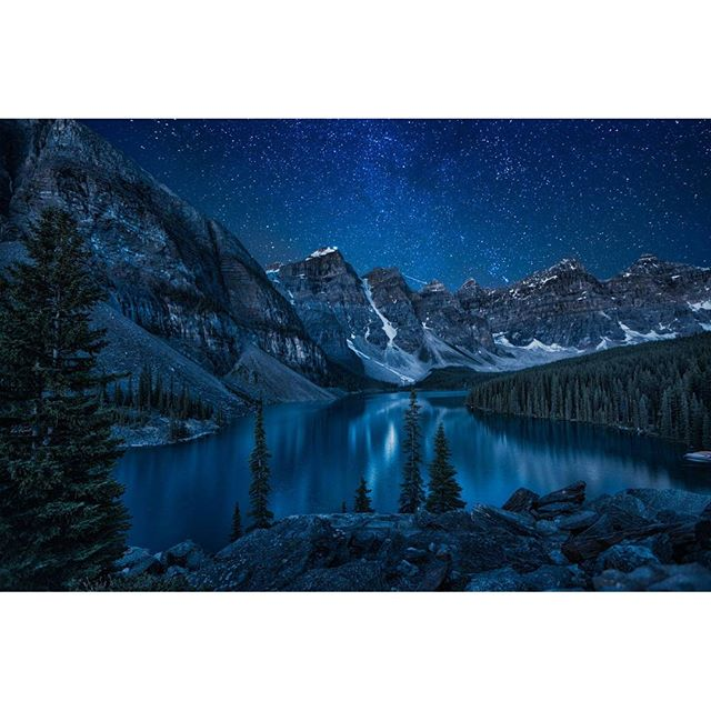 Another #cool and #beautiful #picture! This one is a picture of #Moraine #Lake in #Canada at #night, by #Andrey #Popov. #blue #nighttime #stars #Mountains #mountain #trees #nature #picturesque #scenery #relax #sky *look like #BobRoss